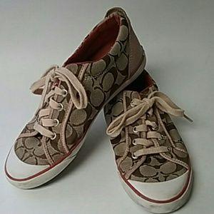 Coach sneakers tennis shoes logo C pink brown 8